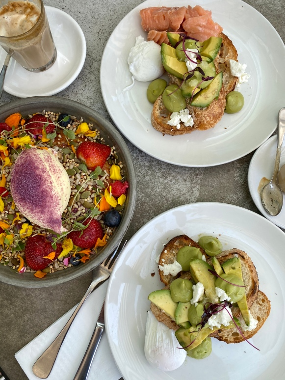 Hotcake and avo toast at Kettle Black in Melbourne, Australia