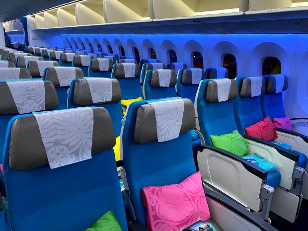 Colorful Air Tahiti Nui seats before anyone boarded the airplane