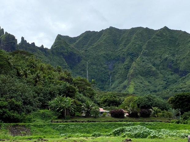 Lush green mountains with waterfalls on Moorea, French Polynesia