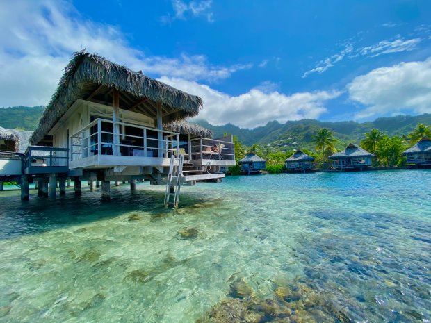 Overwater bungalow at the Intercontinental in Moorea, French Polynesia