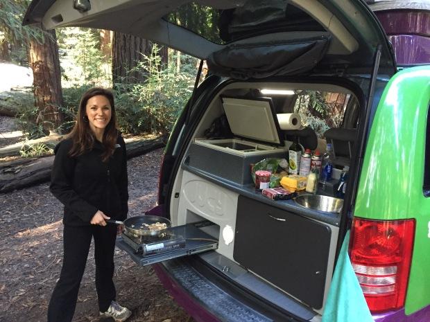 Kitchen of a Jucy van