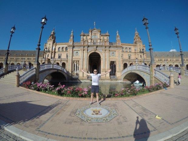 Standing in front of Plaza de Espana in Seville