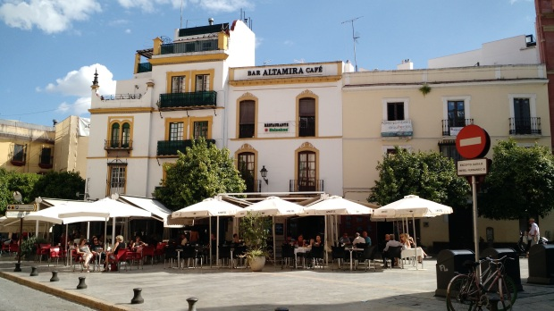 Outdoor cafe in Seville, Spain